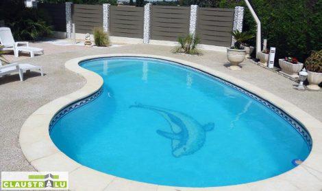 Clôture tressée brise vue piscine