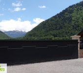Installation du portail alu sur rail