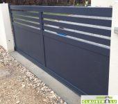 Portail Gris Anthracite en aluminium, Barreaudage horizontal sur 1/3 de la surface