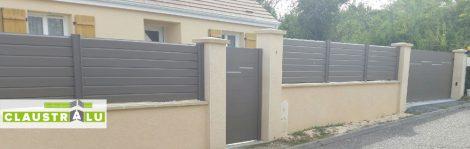 Portail portillon et clôture assortie couleur Taupe