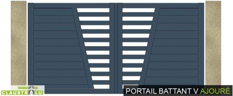 portail battant alu V ajouré barreaudage horizontal